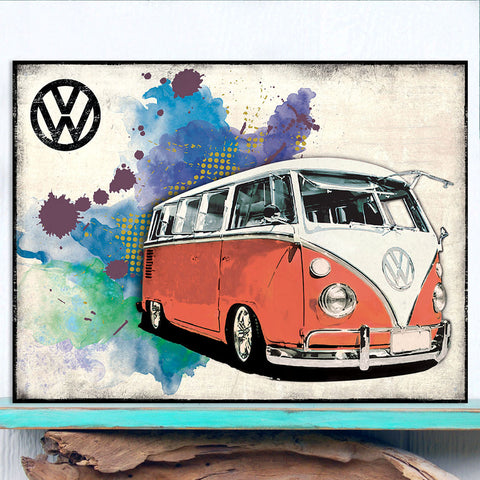 VW Metal Sign - Red Grunge Classic Campervan - The Metal Sign Store