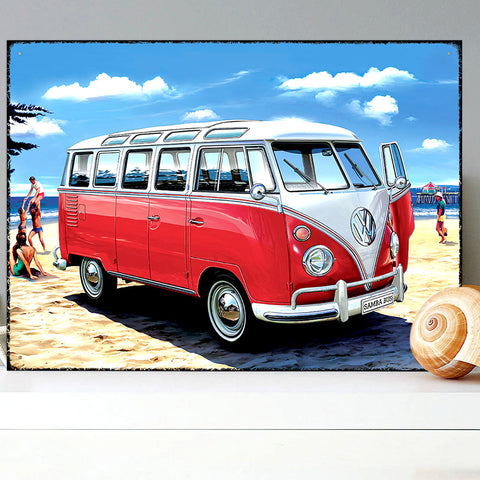 VW Metal Sign - Red Samba Bus Classic Campervan - The Metal Sign Store