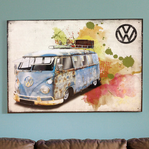 VW Metal Sign - Rusty Grunged Campervan - The Metal Sign Store