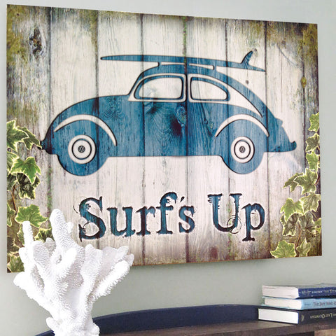 VW Metal Sign - Surf's Up Wooden Effect Beetle - The Metal Sign Store