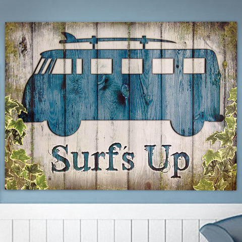 VW Metal Sign - Surf's Up Wooden Effect Campervan - The Metal Sign Store