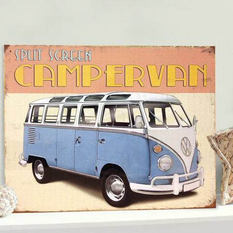 VW Metal Sign - The Classic Split Screen Campervan - The Metal Sign Store