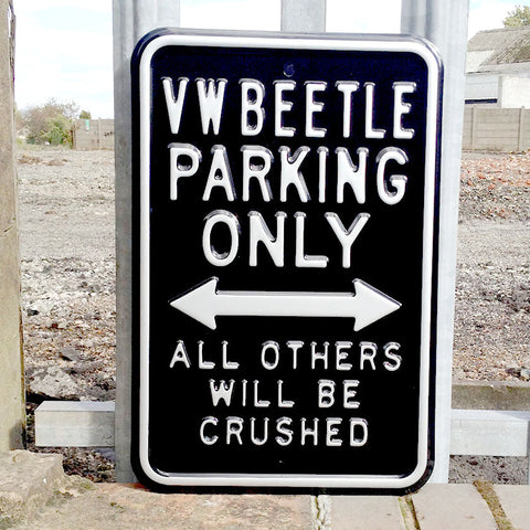 VW Metal Sign - VW Beetle Parking Only - The Metal Sign Store