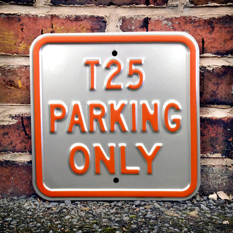 VW Metal Sign - VW T25 Parking Only Square - The Metal Sign Store