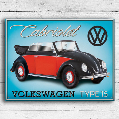 VW Metal Sign - Volkswagen Beetle Cabriolet Type 15 - The Metal Sign Store