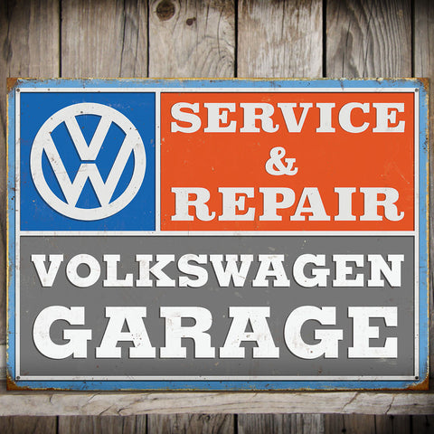 VW Metal Sign - Volkswagen Garage Service and Repair - The Metal Sign Store
