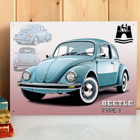 VW Metal Sign - Wolfsburg Beetle Type 1 - The Metal Sign Store