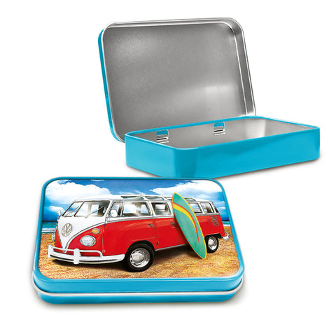 VW Metal Tin - Samba Surf Campervan on the Beach - The Metal Sign Store