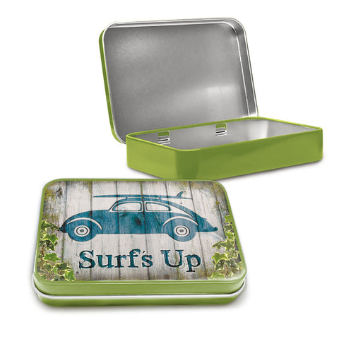 VW Metal Tin - Surf's Up Beetle - The Metal Sign Store