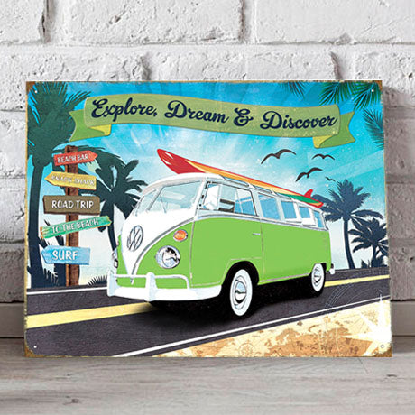 VW Metal Sign - Volkswagen Road Trip - The Metal Sign Store