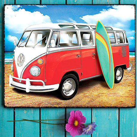 VW Metal Sign - Samba Surf Campervan on the Beach - The Metal Sign Store