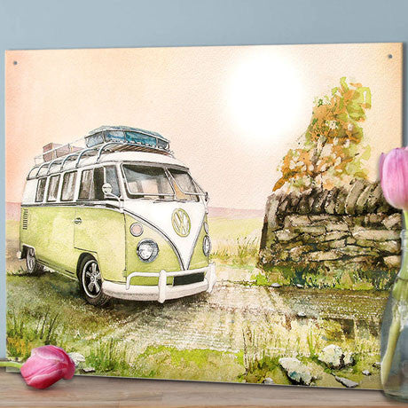 VW Metal Sign - Classic Campervan in a Green Field Watercolour - The Metal Sign Store