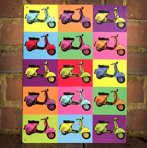 Vespa Metal Sign - Pop Art Scooter Montage - The Metal Sign Store