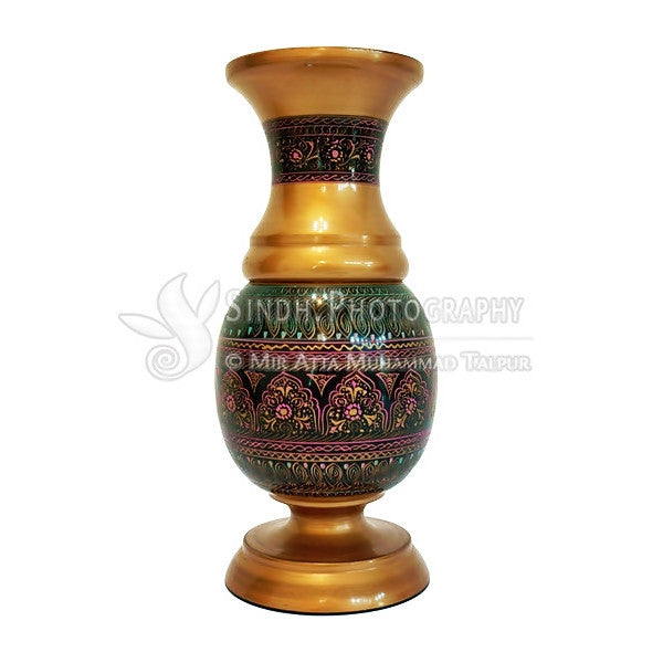 Sindhi Hala Flower Vase Traditional Hand Painted Glazed Woodwork