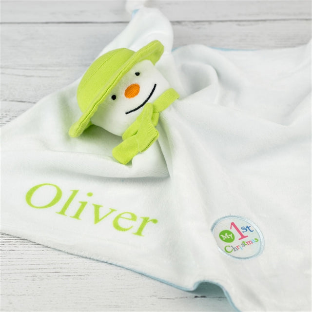 baby comforter, snowman and snowdog personalised baby comforter