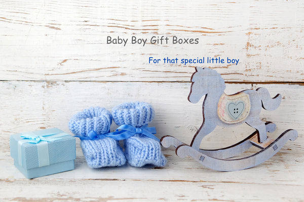 Baby Boy Gift box with booties and rocking horse
