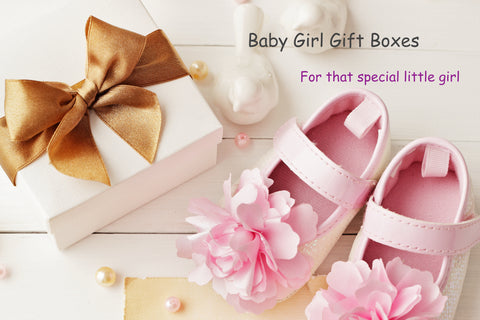 Pink baby girl shoes with white gift box