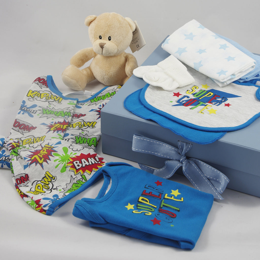 Retro Baby Boy Gift Box, Comic Book Theme, Baby Boy Clothing Set