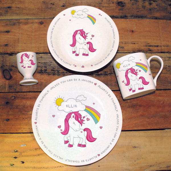 unicorn breakfast set, personalised breakfast set for children