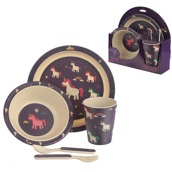 unicorn dinner set, bambootique eco friendly, children's dinner set