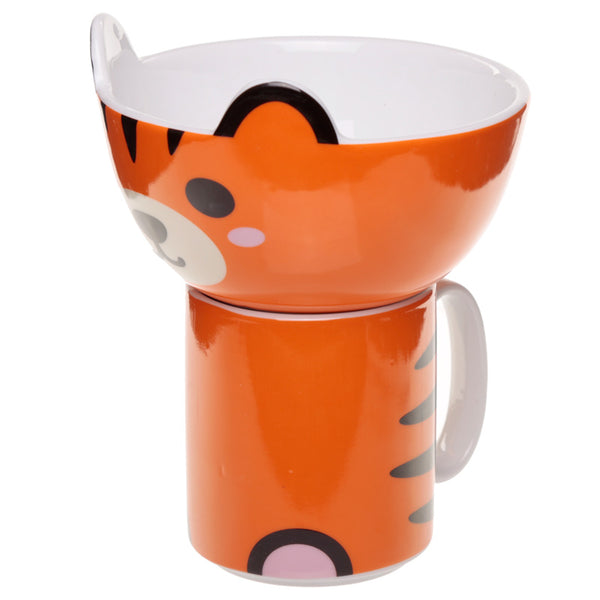 Cute Tiger Design Mug and Bowl Set | New Bone China