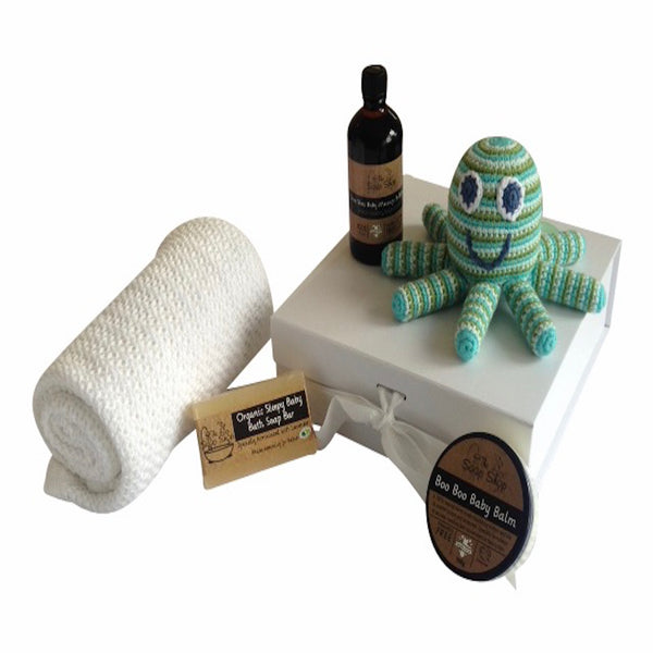Baby Skincare and Bath gift box with cellular blanket and octopus rattle
