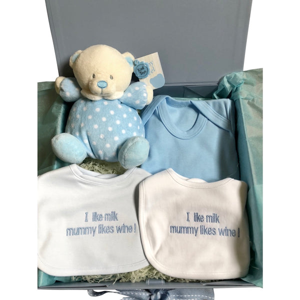 baby boy gift box, baby boy slogan bibs, slogan dribble bibs, cuddly baby bear, quirky slogan bib, baby boy bundle gift