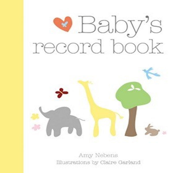 Baby record book to keep track of baby's milestones.