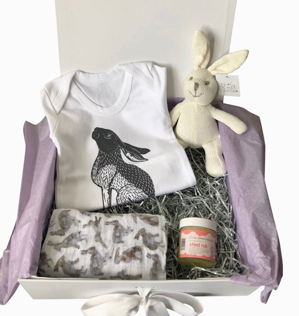 unisex baby gift box, charcoal hare baby grow, unisex baby clothing, keepsake box, new mum gift, unisex baby hamper