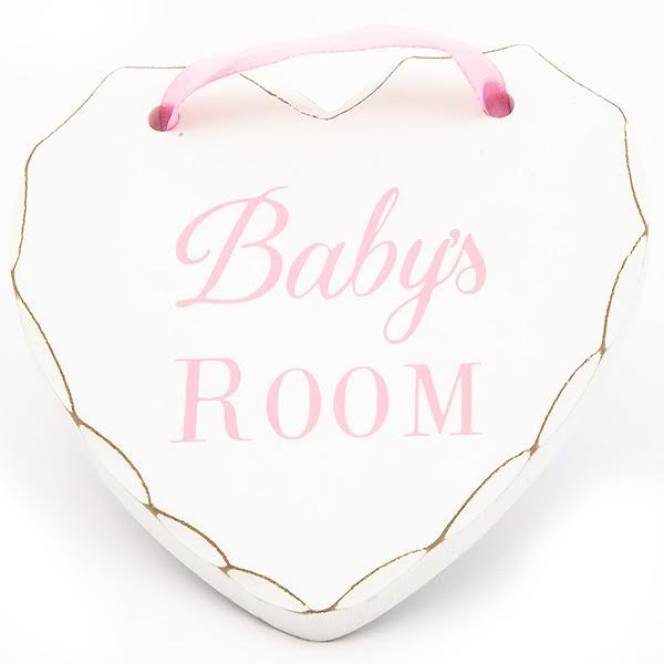 Baby's Room Pink Lettering MDF Wooden heart for hanging in nursery