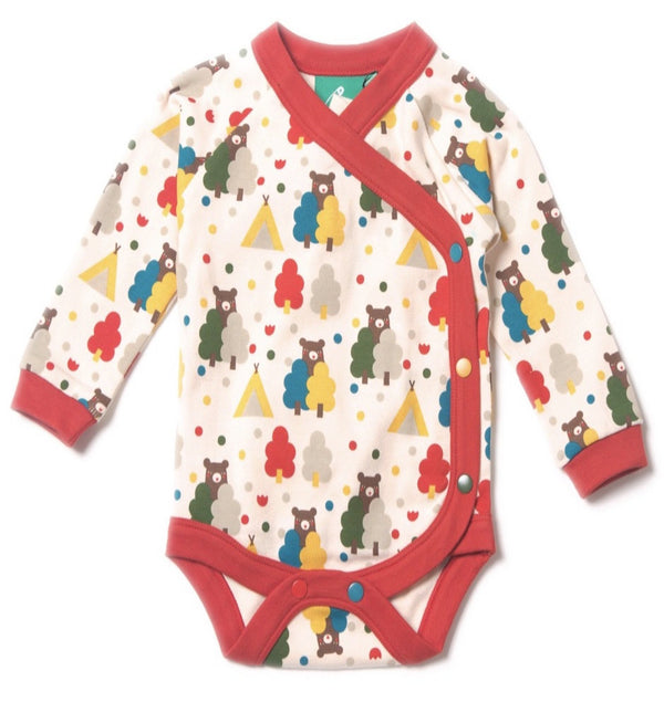 Bear themed kimono style wrap baby body Little Green Radicals fair-trade organic cotton