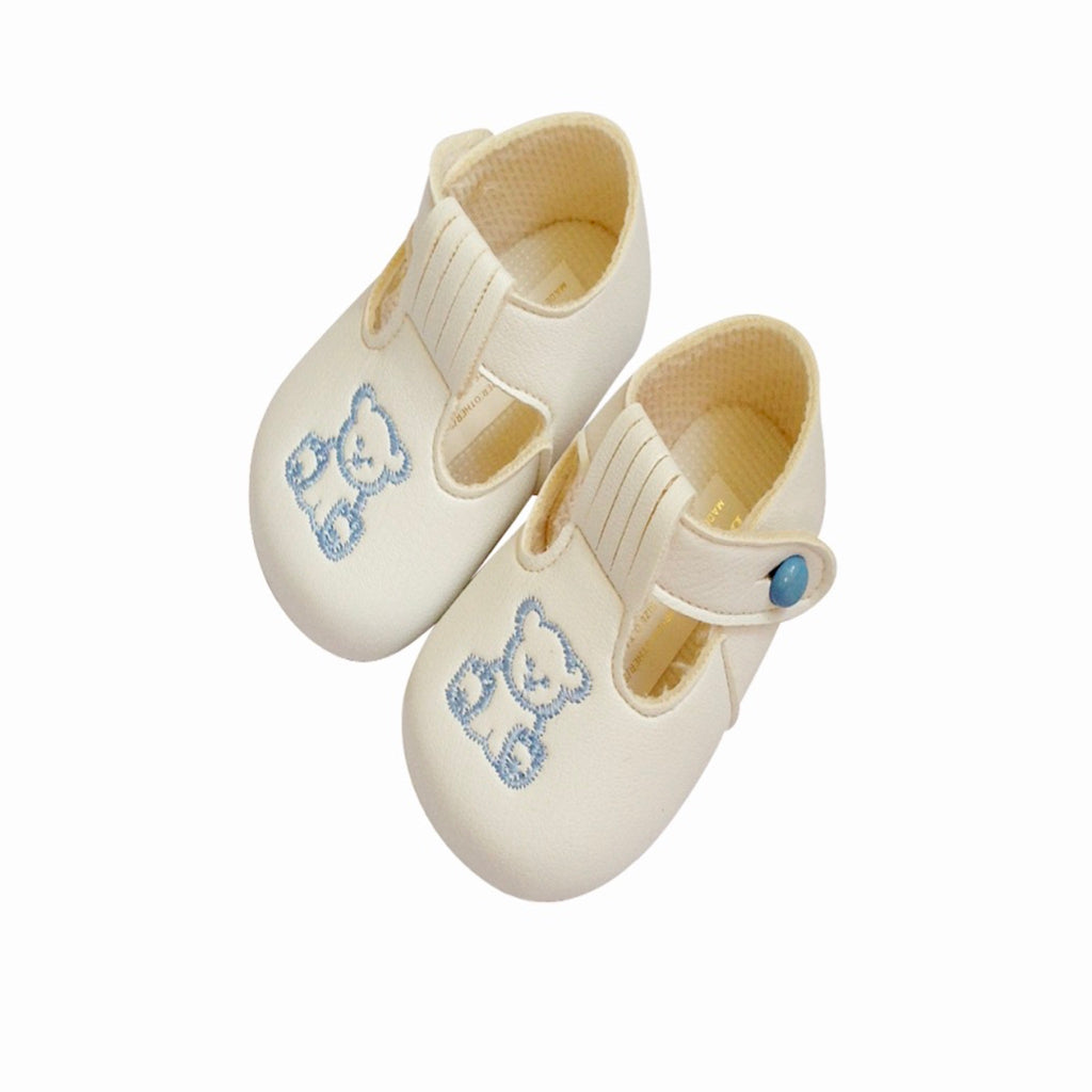White matte shoes for baby boy, soft soled shoes, embroidered teddy bear