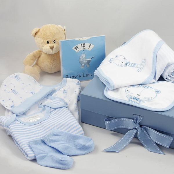 Blue bear baby boy gift box with a beige bear and baby feed wheel