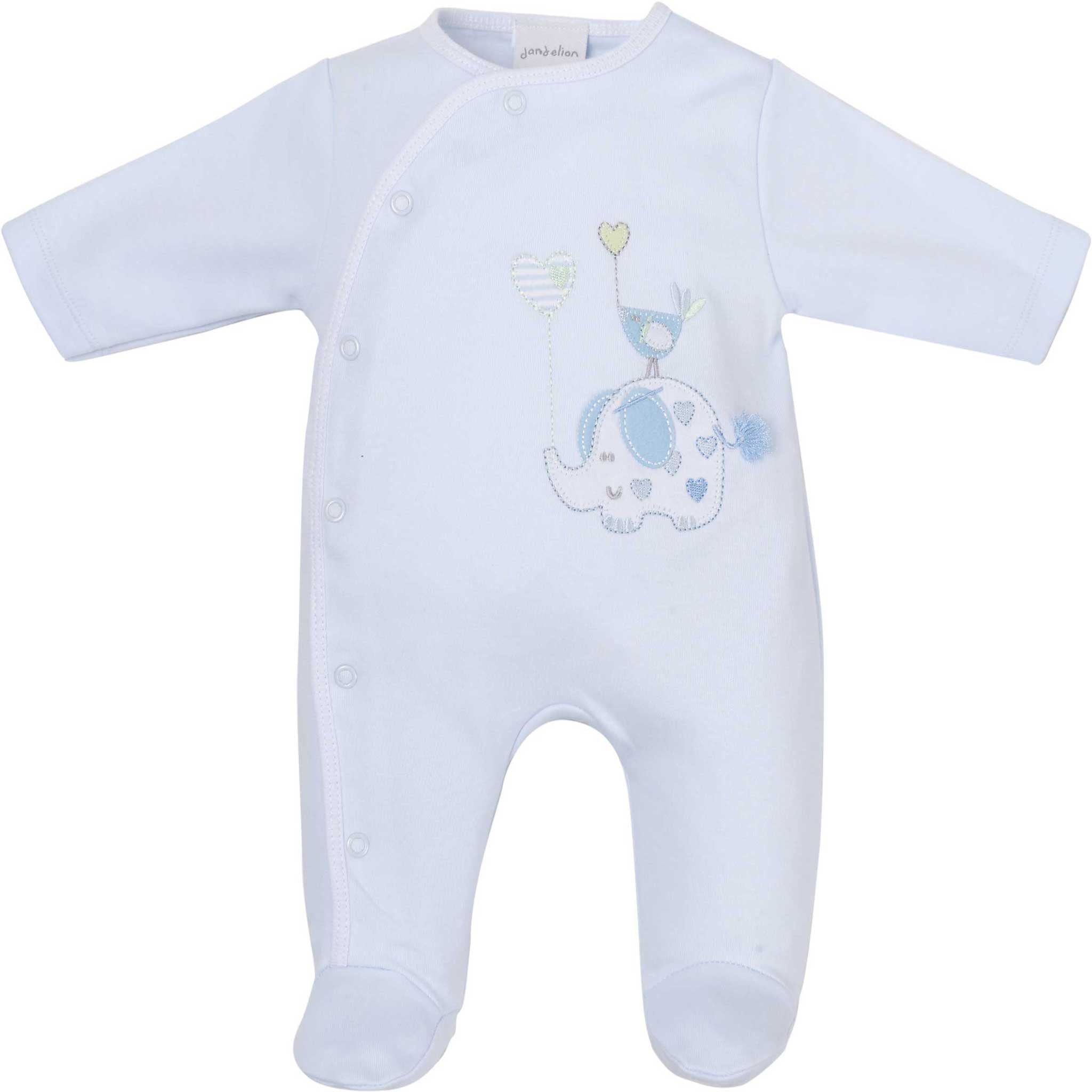 0aa93cd5f Elephant and Bird Appliqué Baby Boy Sleepsuit