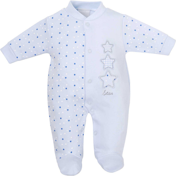 Triple Star appliqué blue baby boy sleep suit with polka dot pattern