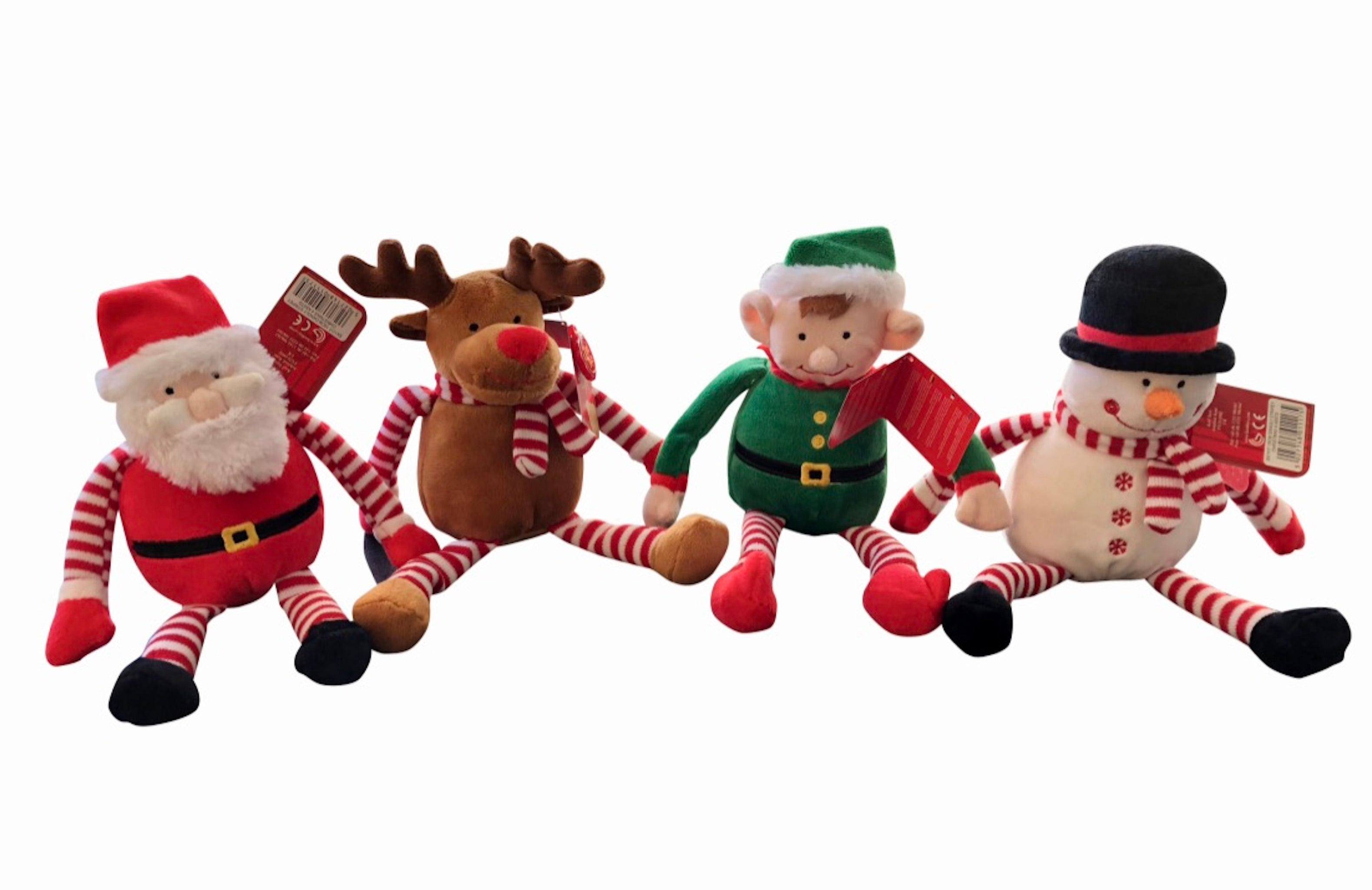 dangly christmas plush toys santa claus elf reindeer and snowman