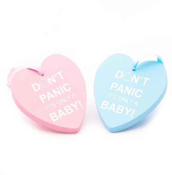 Pink or Blue Don't Panic It's only a Baby Hanging Heart
