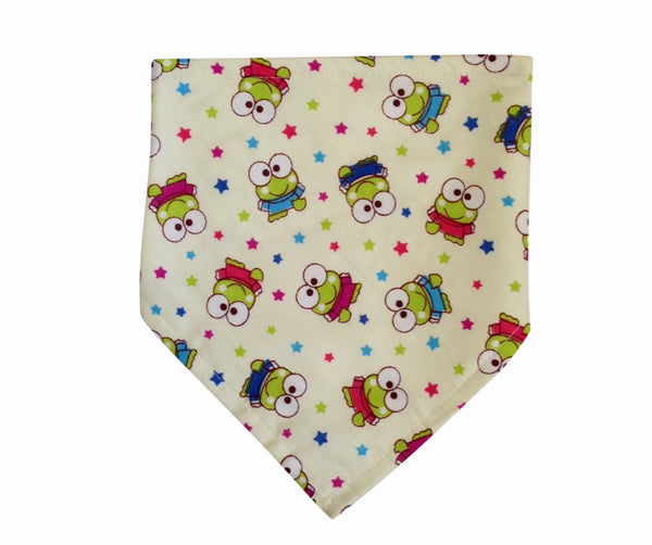 Colourful Frog and Star pattern bandana bib, velcro fastening, unisex