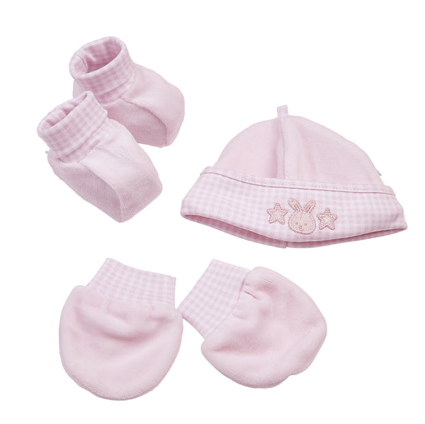 Bunny with stars velour hat, booties, and scratch mittens gift set