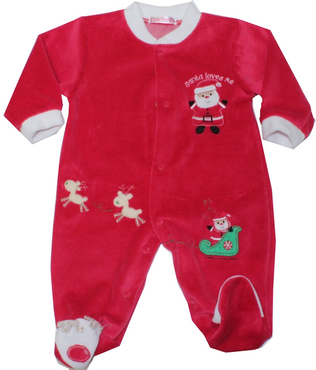 Velour Baby Unisex Sleepsuit |Santa Loves Me | Available in sizes Newborn - 12 months