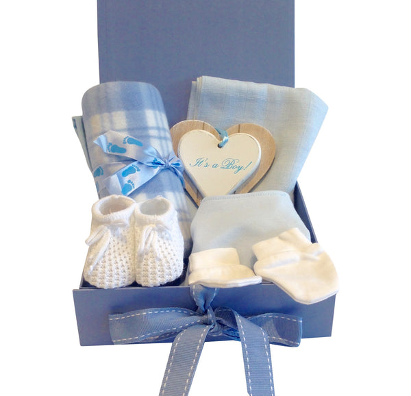 The Essentials New Baby Hamper Gift and Keepsake Box in Blue
