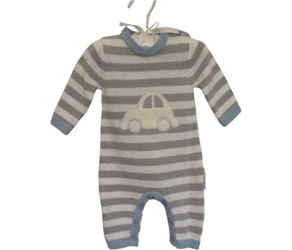 Baby Boy Romper | Striped Sky and Grey with Car