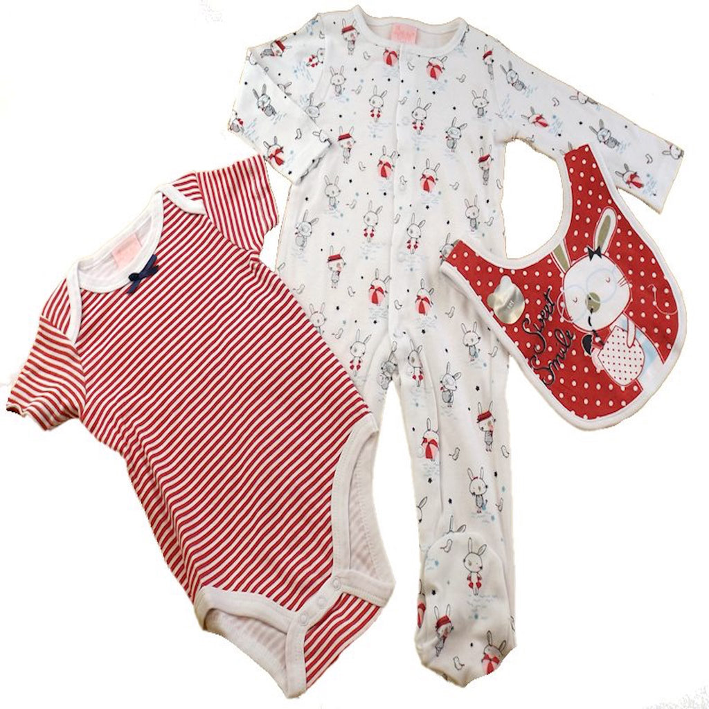 Baby Girl Rabbit Themed Outfit set, Sweet Smile Bunny Outfit set