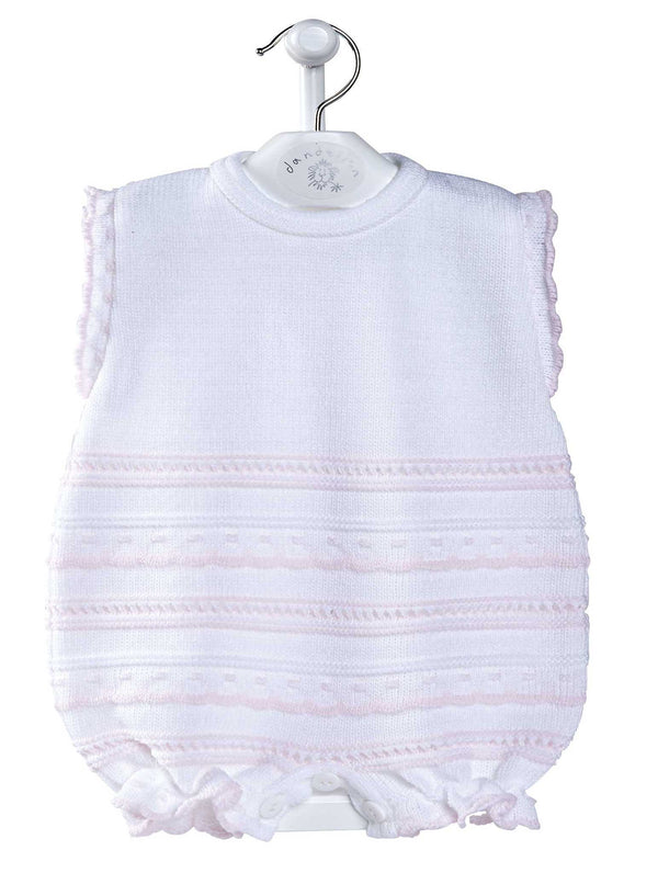 Knitted Pointelle Romper | White & Pink | 0 - 3 months