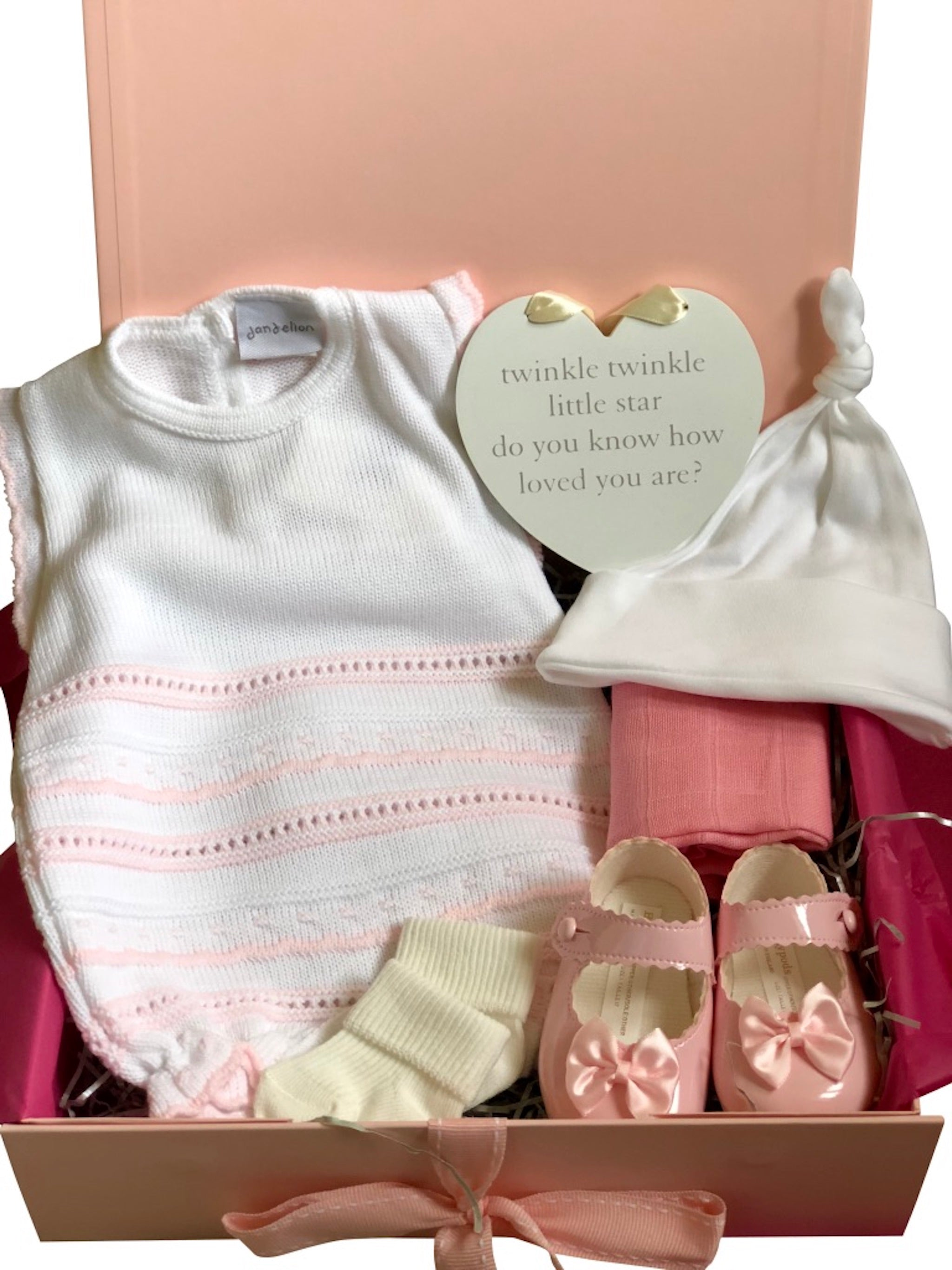 3b964efeceeb Knitted Pointelle Romper Baby Girl Gift Box