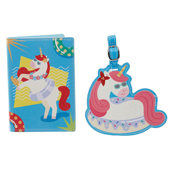 unicorn luggage tag and passport holder set, fun vacation vibes
