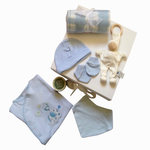 'Elephant & Bird' New Baby Boy Gift Box | 7 Pieces | Available in 0 - 3 months