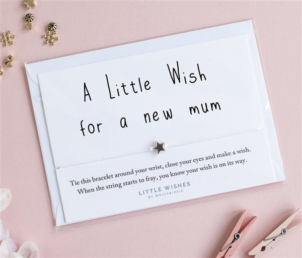 little wishes, Molly & Izzie, rhodium star bead, bracelet for new mum, cord bracelet.