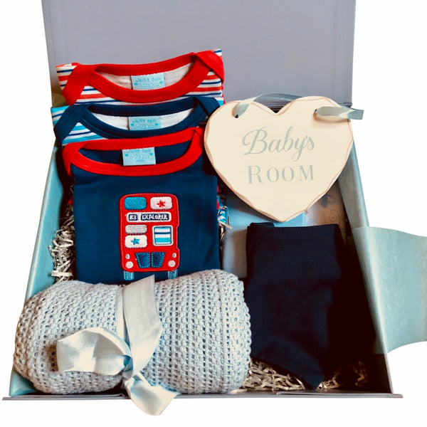 London Bus, baby boy clothing, baby boy gift box, gifts for a new mum