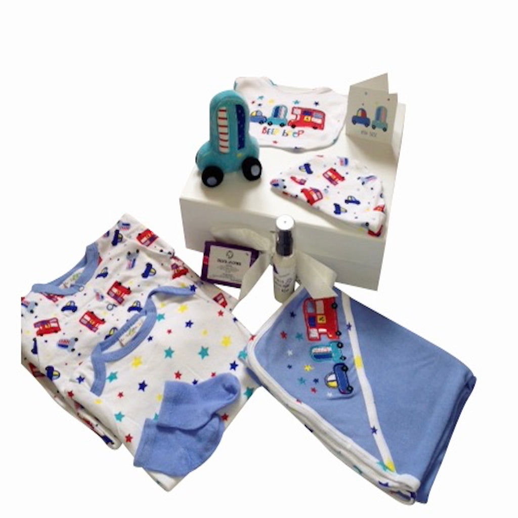 Baby boy layette set, French lavender, handmade skincare, London transport theme, baby boy gift box